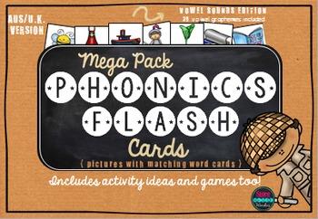 Phonics Flash Cards Vowel Sounds {AUS/U.K. Version}