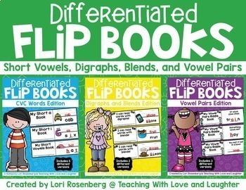 Phonics Flip Books Bundle {CVC Words, Digraphs, Blends, Vo