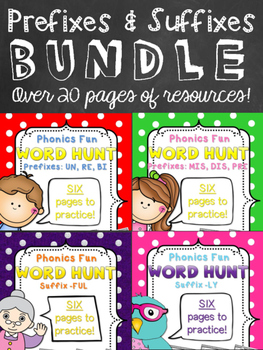 Phonics Fun Word Hunt BUNDLE - Prefixes & Suffixes