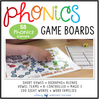 Phonics Game Boards Full Year Bundle (70 Boards) - Whimsy Workshop Teaching