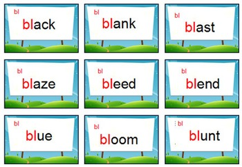 'PHONICS GAME' ~ Initial Blend Card Game ~ Change  {bl.fl,