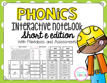 Phonics Interactive Notebook Short E Edition
