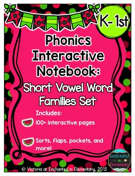 Phonics Interactive Notebook: Short Vowel Word Families Set