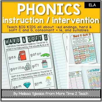 Phonics Interactive Unit {for Hard/Soft C & G, -ed Endings