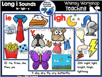 Phonics: Long I Sounds Bundle IE  IGH  Y - Whimsy Workshop