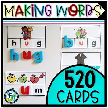 Phonics Making Words Activity Cards SHORT VOWEL BUNDLE