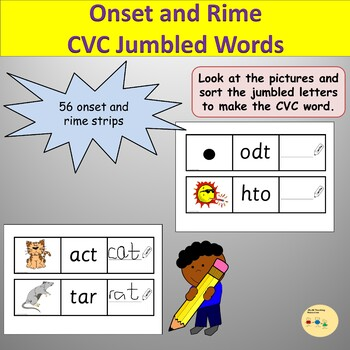 Phonics Onset and Rime/CVC Cards with Pictures