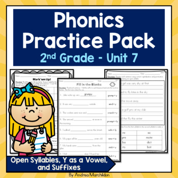 Phonics Pack Unit 7 Second Grade - Open Syllables, Y as a