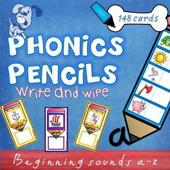 Phonics Pencils - write & wipe - beginning sounds a-z