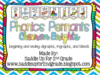Phonics Pennants Chevron Brights: Digraphs, Trigraphs and Blends