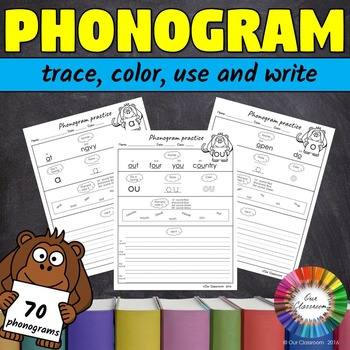 Spalding Phonogram Worksheets (trace, color, use and write