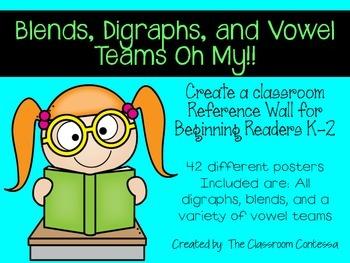 Phonics Poster Set - Blends, Digraphs, and Vowel Teams