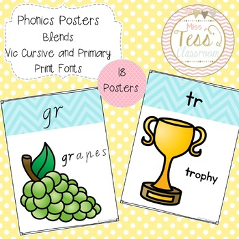 Phonics Posters - Blends - Modern Vic Cursive and Primary Print