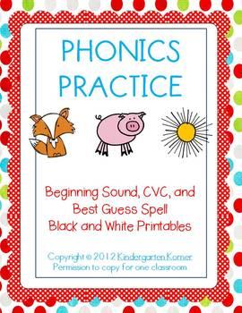 Phonics Practice - Black and White Printables