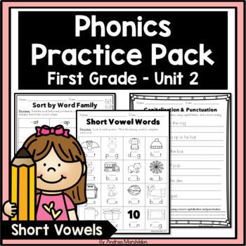 Phonics Practice Pack First Grade Unit 2 - Short Vowels