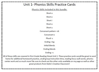 Phonics Practice Word Cards (Reading Street) COMPLETE 1st