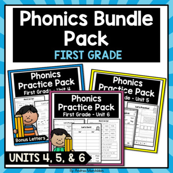 Phonics Printable Bundle Pack First Grade Units 4, 5, & 6