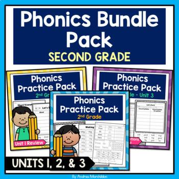 Phonics Printable Bundle Pack Second Grade - Units 1, 2, & 3