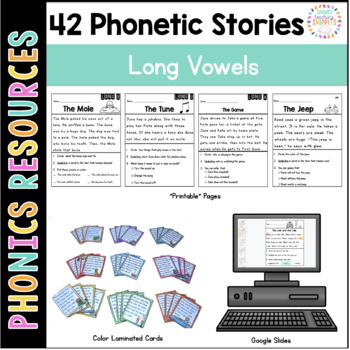 Phonics Reading Passages and Story Cards: LONG Vowel Edition