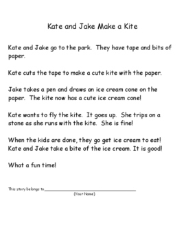 Phonics Reading Practice for vce patterns - Kate and Jake