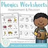 Phonics Worksheets - Assessment and Revision Packet for Pr