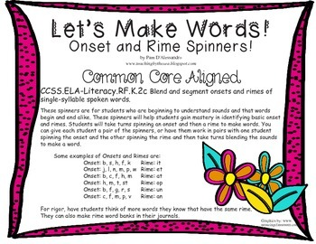 Phonics Rhyming Spinner Common Core ELA Literacy RF.K.2c