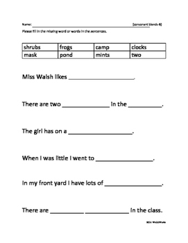 Phonics Skill: Fill in the Sentences