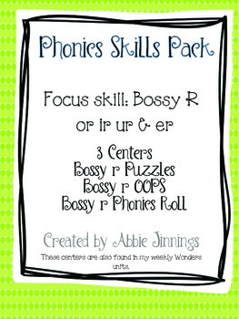 Phonics Skill Pack- Bossy R er ir ur or