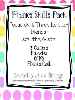Phonics Skill Pack- Three letter blends- thr, spr, & str