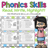 Phonics Skills: Read, Write, Highlight! {50 phonics skills}