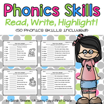 Phonics Skills: Read, Write, Highlight! {50 phonics skills}