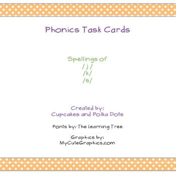 Phonics Task Cards Spellings of /j/, /k/, /s/