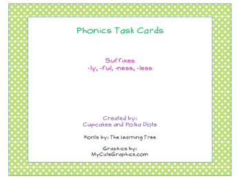 Phonics Task Cards Suffix -ly, -ness, -less, -ful