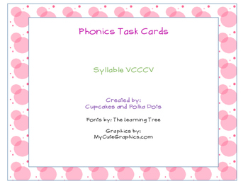 Phonics Task Cards Syllables VCCCV
