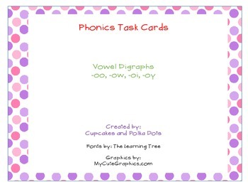 Phonics Task Cards Vowel Dipthongs