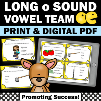 Long Vowels o Team { oe } Task Cards for Phonics Games Act