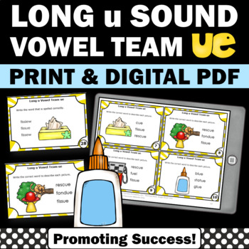 Vowels Team { ue } Task Cards for Phonics Games & Activiti