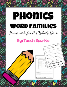 Phonics Word Families Homework for the Entire Year