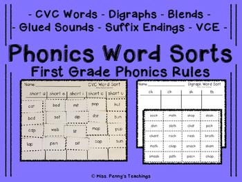 Phonics Word Sorts First Grade Phonics Rules