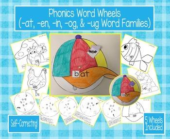 Phonics Word Wheels (-at, -en, -in, -og, & -ug Word Families)
