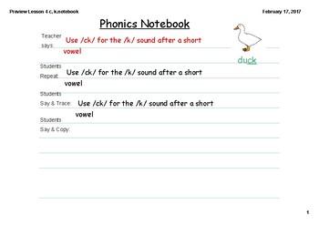 Phonics Lesson 4 c, k, -ck