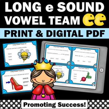Long Vowels e Team { ee } Task Cards for Phonics Games & A