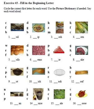 Phonics from the Kitchen: Initial Consonants