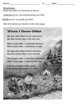 Phonics: oo ou words and -er -est endings poem with questi