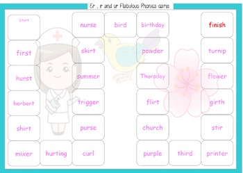 Phonics screen support game er ir ur family