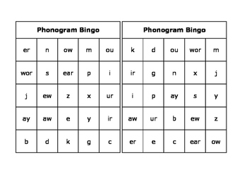 Phonogram Bingo
