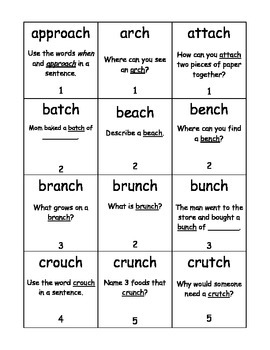 Final /ch/ word Phonolanguage Card Game