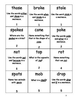 Short o and Long o (o-e) Word Phonolanguage Card Game