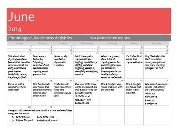 Phonological Awareness Activities- Summer Break Calendar