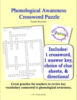 Phonological Awareness Crossword Puzzle